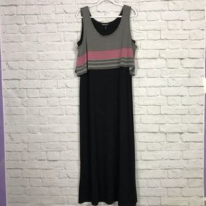 Allison Brittney Striped Overlay Casual MaxiDress
